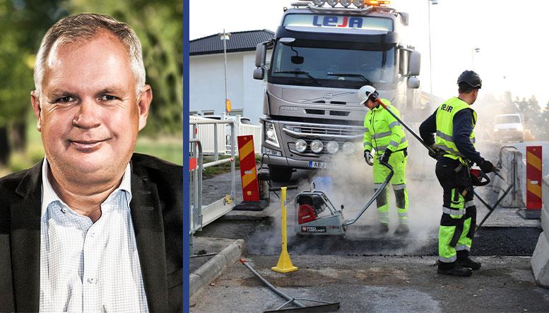 Lejas VD Johan Olsson   Leja utför asfaltering i Botkyrka